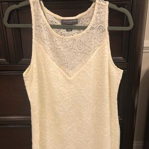 Maternity cream sleeveless lace top